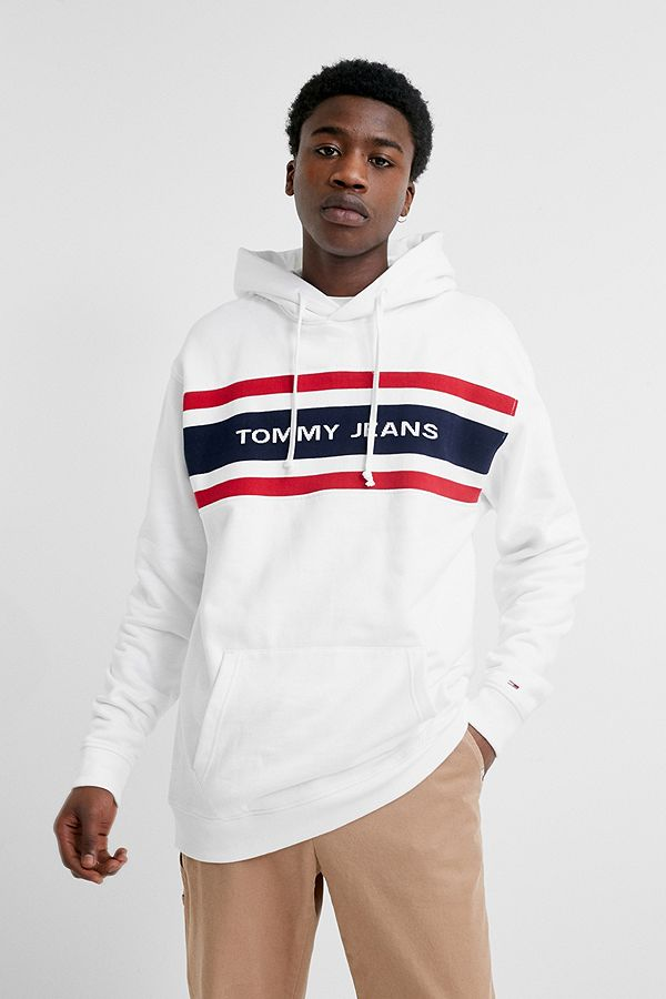 f37732223 Tommy Jeans Crest White Hoodie | Urban Outfitters UK
