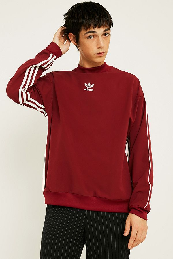 e5482432ba adidas Authentic Stripe Maroon Crew Neck | Urban Outfitters UK