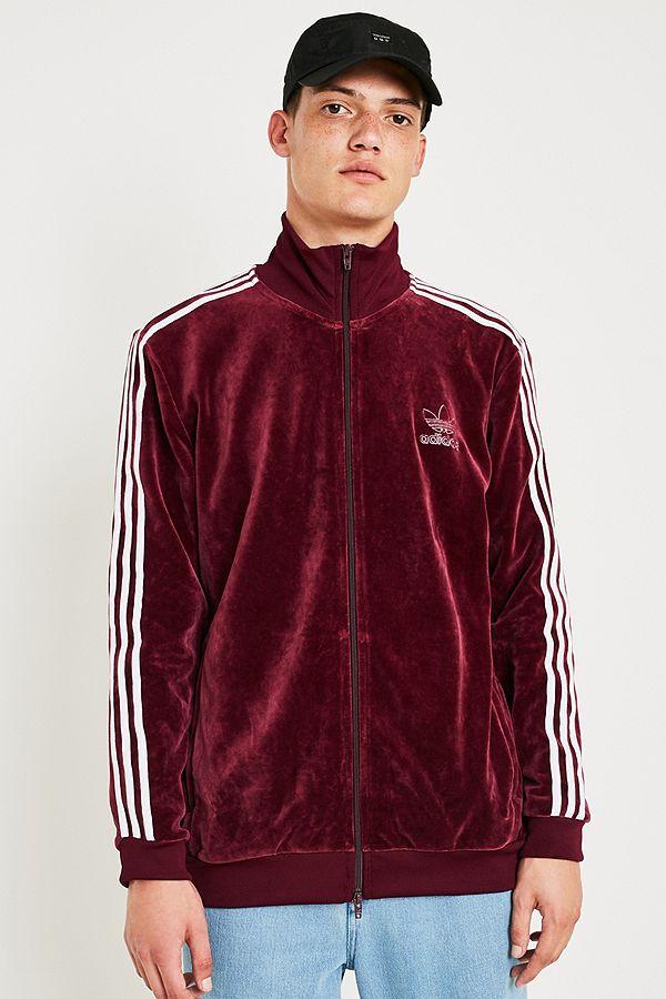 2679e639e9 Adidas - Veste de survêtement Beckenbauer en velours bordeaux ...