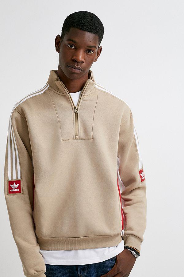 jetzt kaufen heiß-verkaufende Mode sehr bequem adidas Beige Fleece Quarter-Zip Sweatshirt