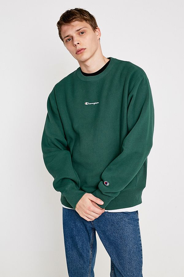 416a500462d Champion UO Exclusive Small Script Hunter Green Crew Neck Sweatshirt ...