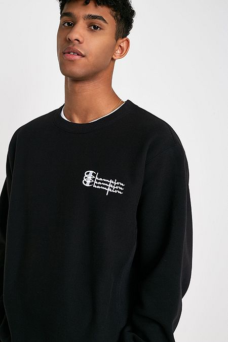 fe21527b0d6d79 Champion UO Exclusive Triple Logo Black Crew Neck Sweatshirt