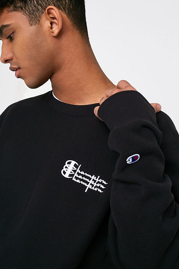 bc88b734a224 Slide View  2  Champion UO Exclusive Triple Logo Black Crew Neck Sweatshirt