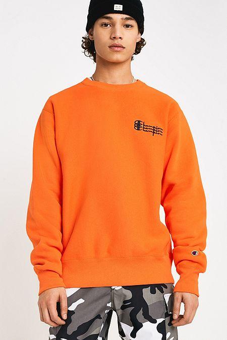 best website 1aada 8c23a Champion UO Exclusive Triple Logo Orange and Black Crew Neck Sweatshirt