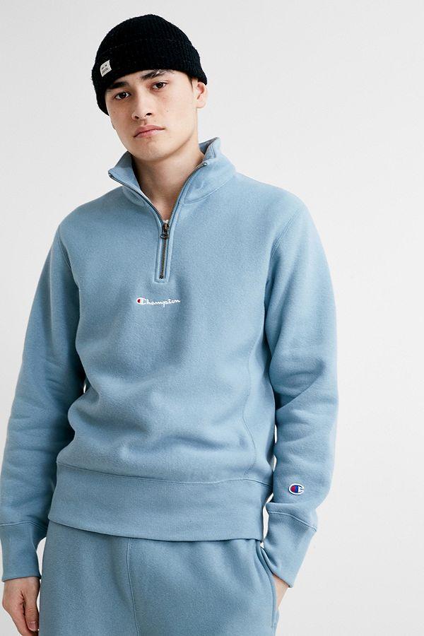 f67ed4f5 Champion UO Exclusive Blue Reverse Weave Quarter-Zip Sweatshirt ...