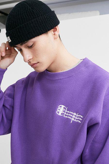 427e824b Champion UO Exclusive Triple Script Purple Crew Neck Sweatshirt