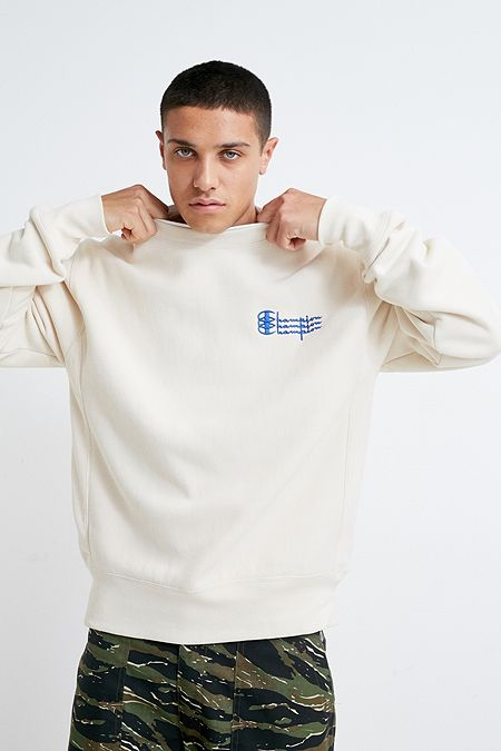5ce58f9349 Champion Triple Script Ecru Crew Neck Sweatshirt