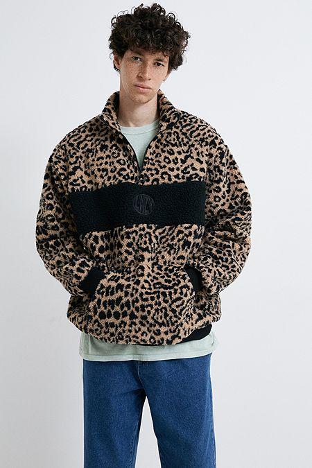 cbb08516d85 Lazy Oaf Leopard Half-Zip Fleece Sweatshirt