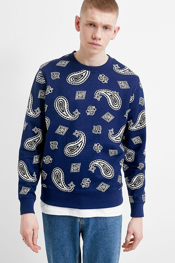 À Du Lacoste Marine Sweatshirt Live Cachemire Imprimé Ras Cou Bleu CxBoerd