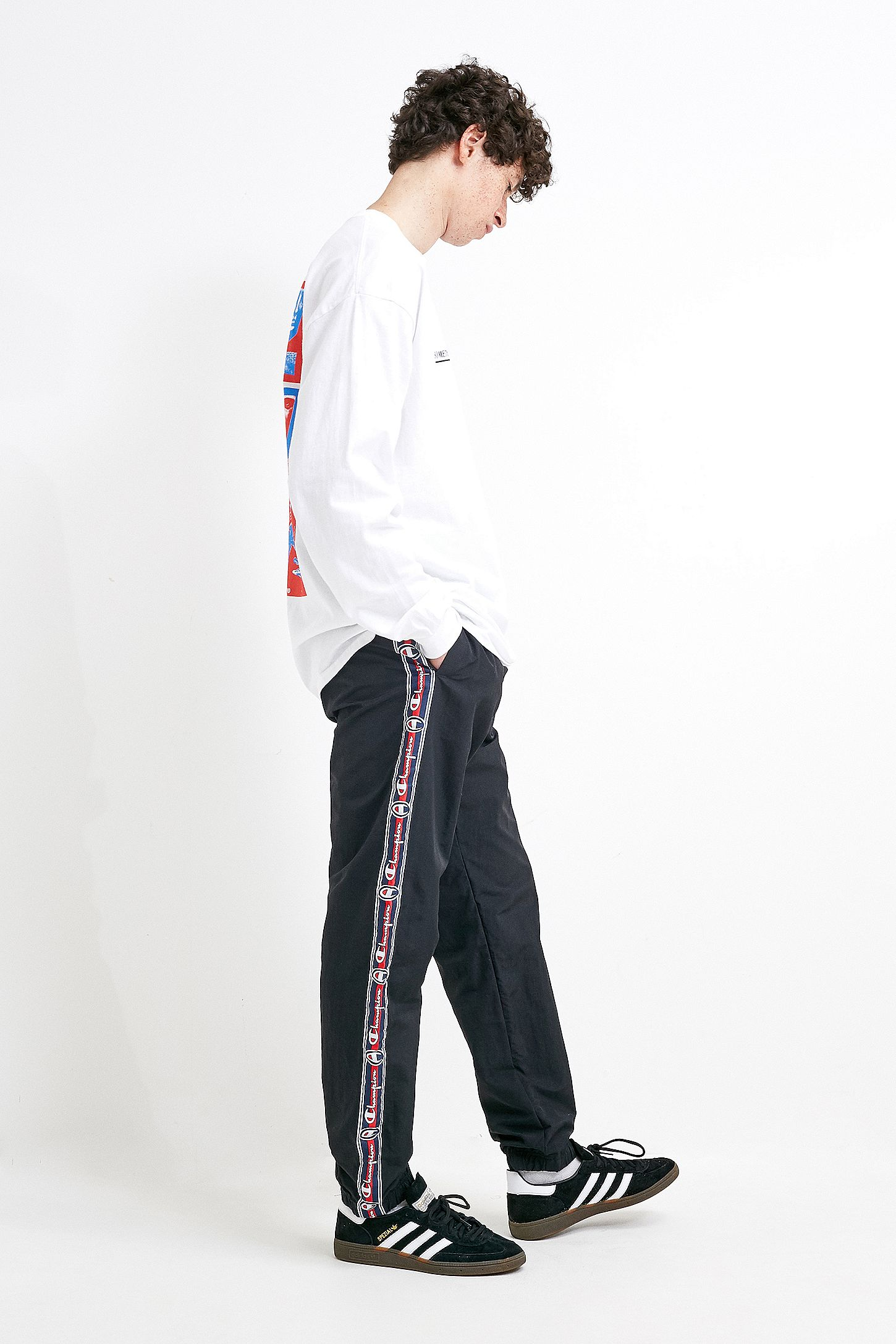 multiple colors classic style big discount Champion Logo Tape Black Nylon Track Pants
