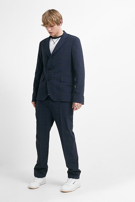986688ffa2c Band Of Outsiders Navy Checked Tuxedo Trousers