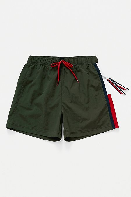 26e413181 Tommy Hilfiger Side Flag Olive Swim Shorts