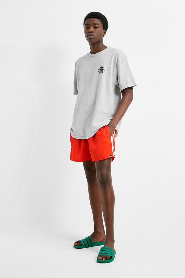 65d96a137b3 adidas 3-Stripe Red Swim Shorts | Urban Outfitters UK