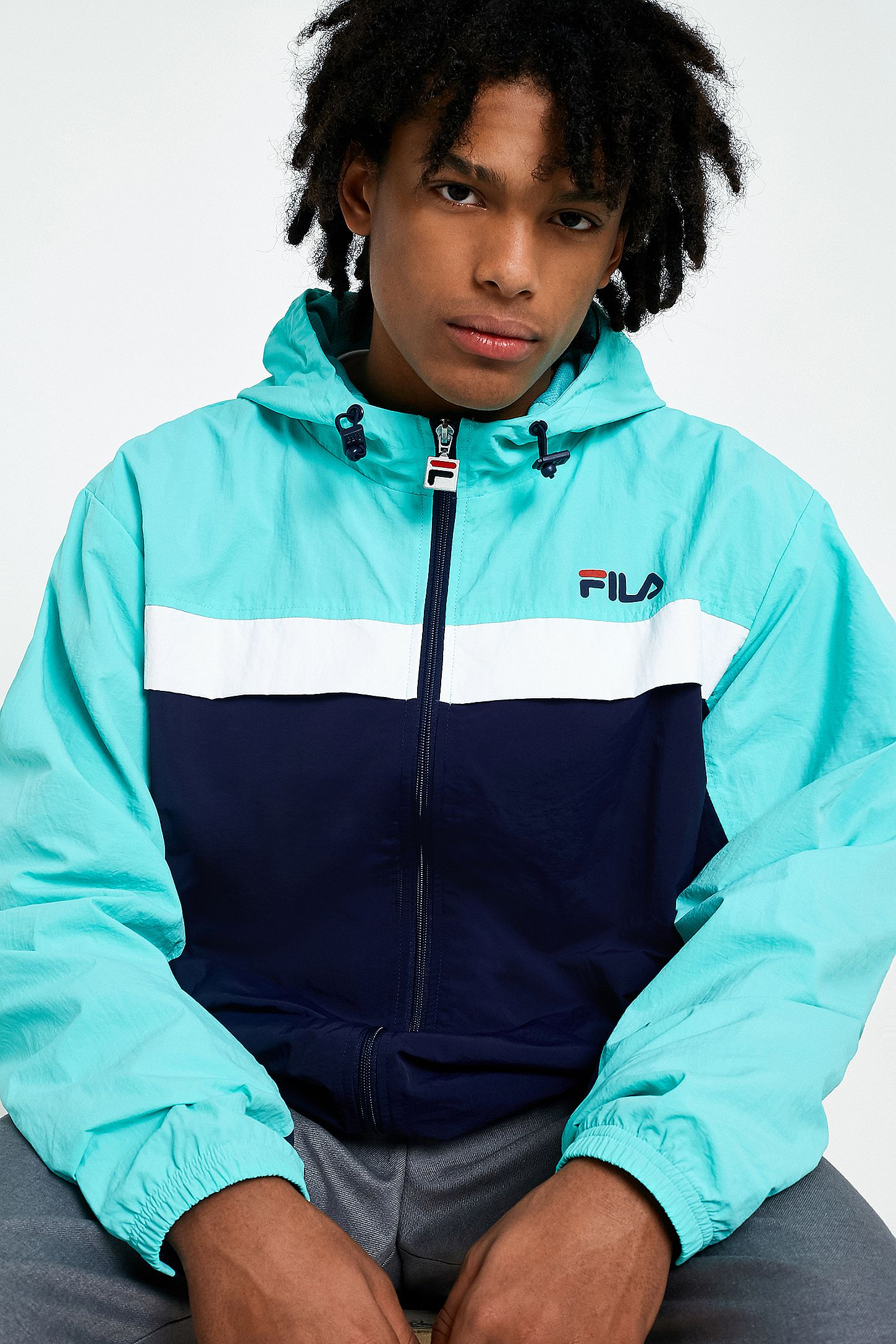 54b4d03a3a8 FILA X UO Clipper Navy Jacket