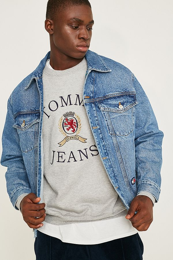 7c9e1f5d Tommy Jeans Crest Collection Flag Denim Trucker Jacket | Urban ...