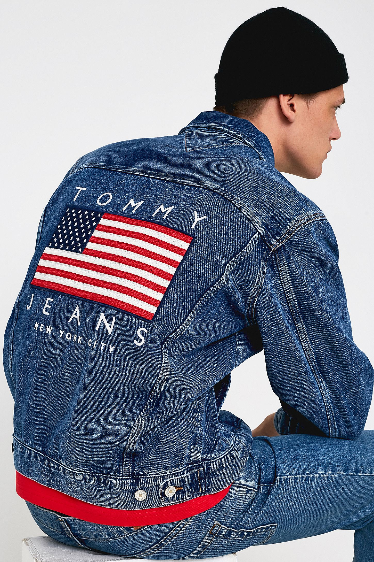 90f551b3e Tommy Jeans USA Flag Denim Jacket | Urban Outfitters UK