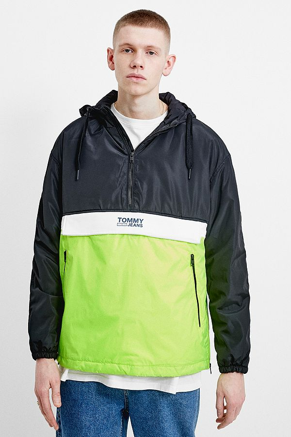 bcecc3d62 Slide View: 1: Tommy Jeans Black Colourblock Popover Windbreaker Jacket