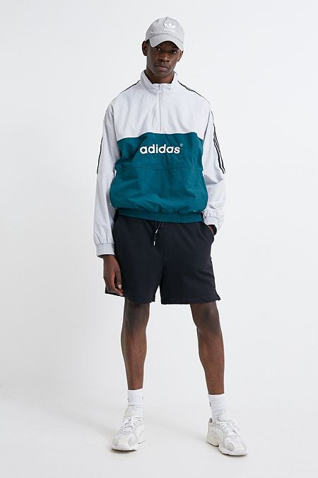 679f3e081262 adidas Overhead Grey and Green Woven Track Top