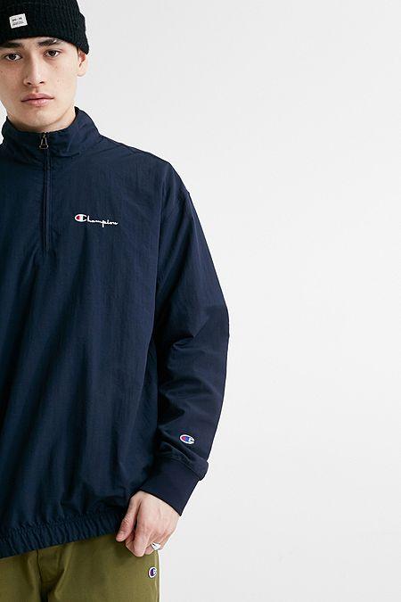 Champion Navy Nylon Quarter-Zip Popover Jacket 87b318ac4