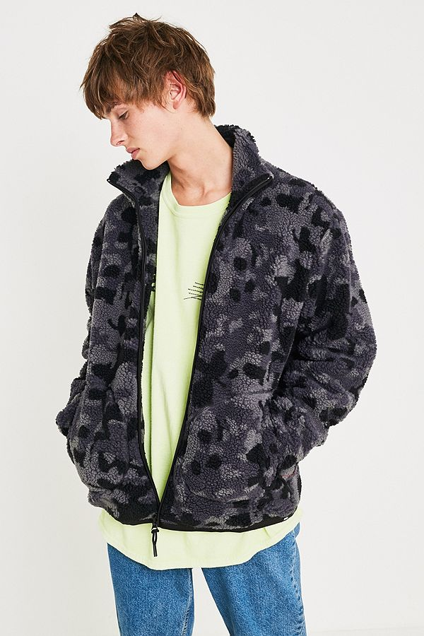 2ca71c159 Edwin Grey Camo Sherpa Fleece Jacket