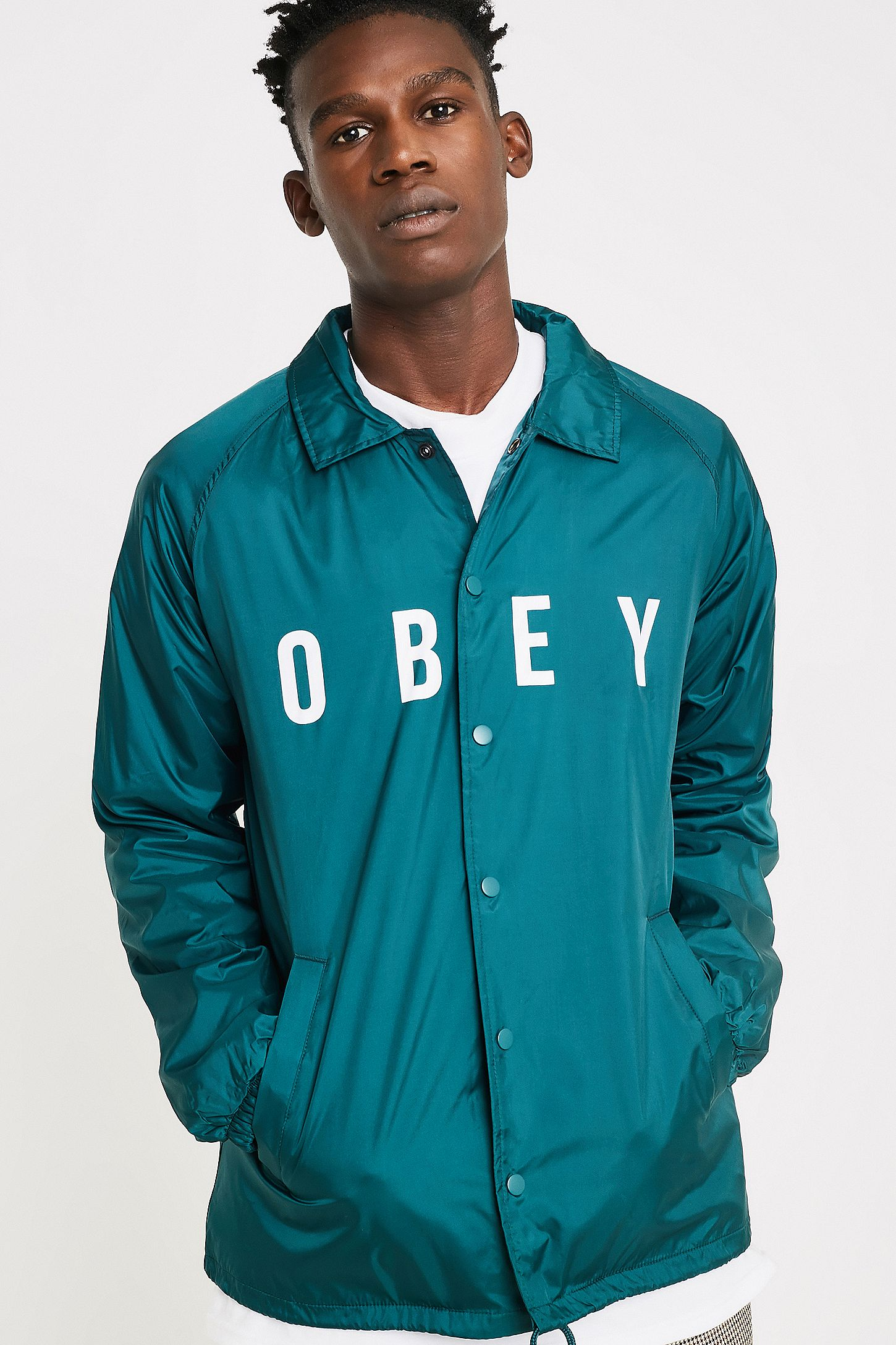 f2f6f5f338402 OBEY Anyway Dark Teal Coach Jacket | Urban Outfitters UK