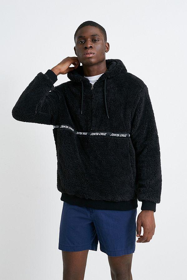 Schwarze Hoodie Jacke aus Baumwollfleece mit Halbreißverschluss von Santa Cruz