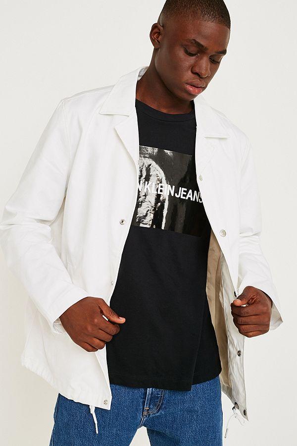 37c9090c2e6 Calvin Klein Jeans Logo White Coach Jacket