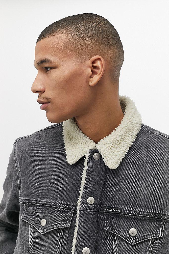 Calvin Klein Washed Black Denim Sherpa