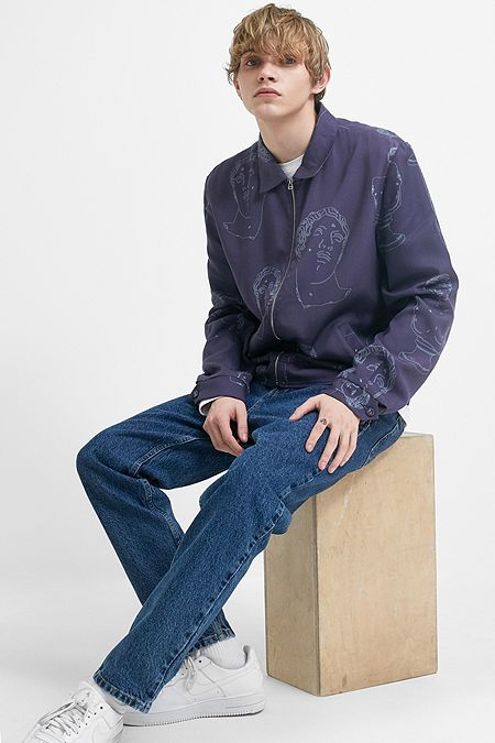 fd6064f54af Band Of Outsiders Marble Navy Tencel Bomber Jacket