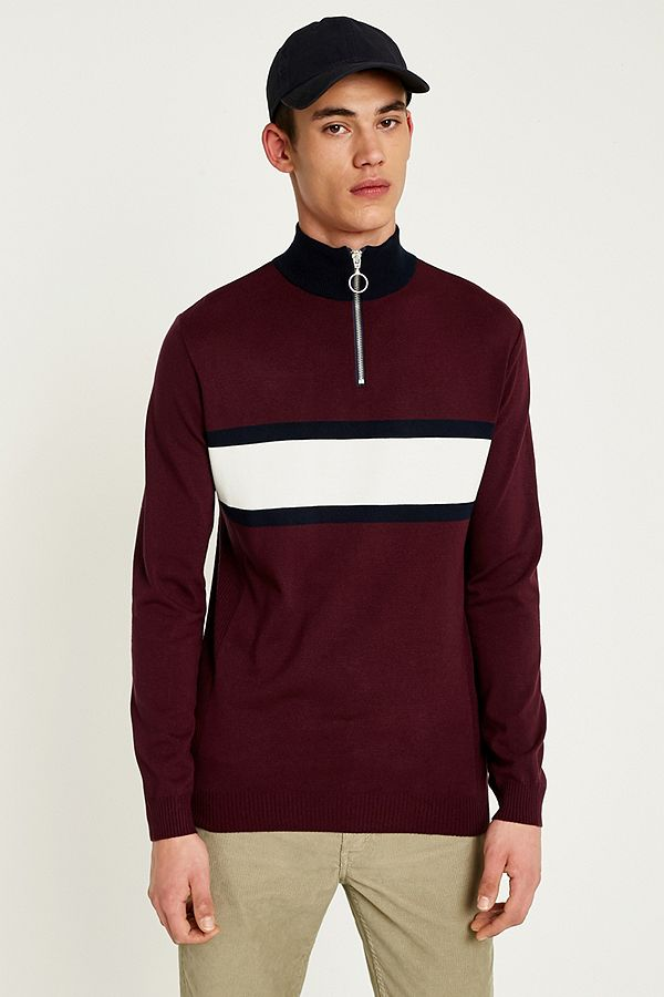 3f052f6060198f Loom Burgundy Striped Mock Neck Jumper | Urban Outfitters UK