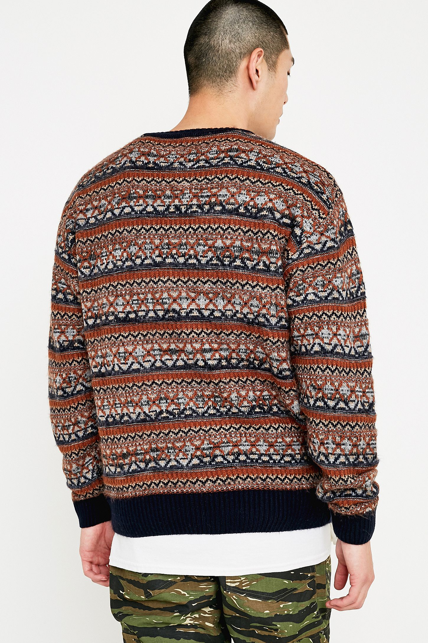 02c85a527 UO Brushed Rust and Navy Fair Isle Jumper | Urban Outfitters UK