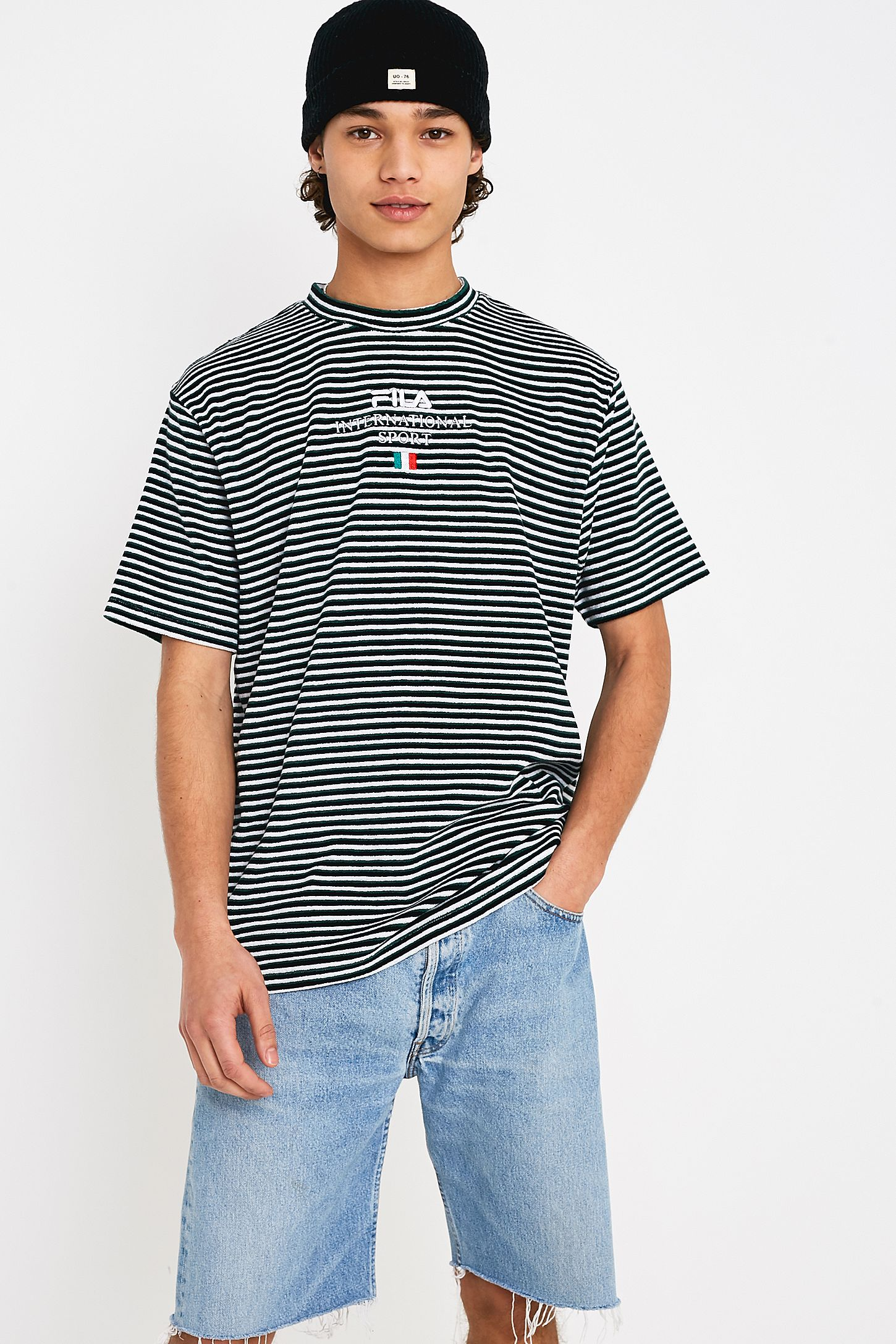fc169367f2a354 FILA Hill White and Green Striped Towelling T-Shirt. Click on image to  zoom. Hover to zoom. Double Tap to Zoom
