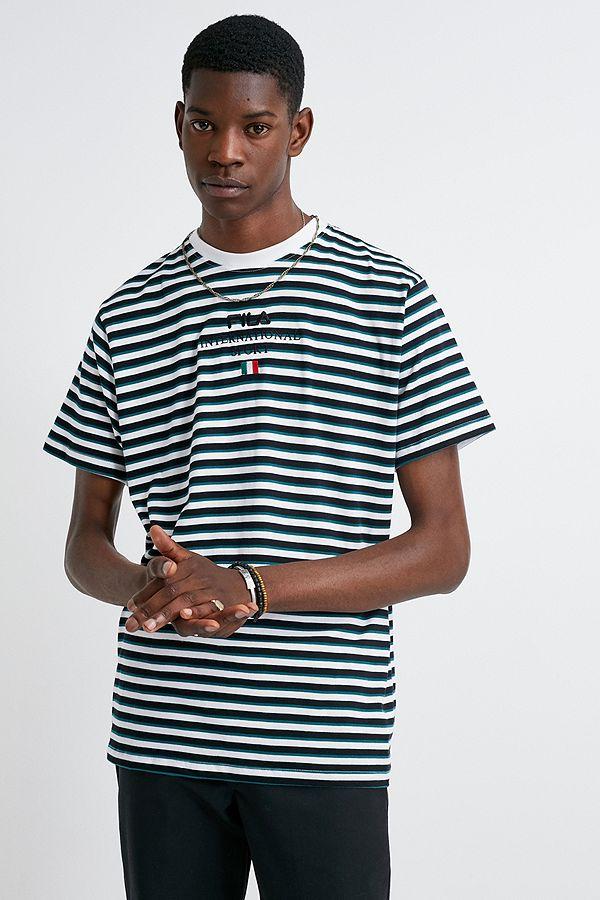 Fila Teal Stripe T Shirt by Fila