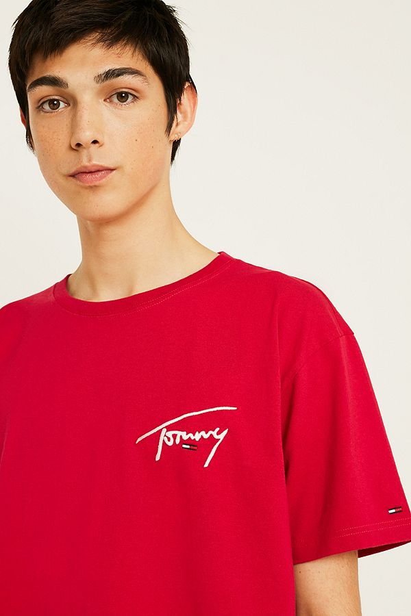 14e094a2 Tommy Jeans Signature Logo Red Shirt | Urban Outfitters UK