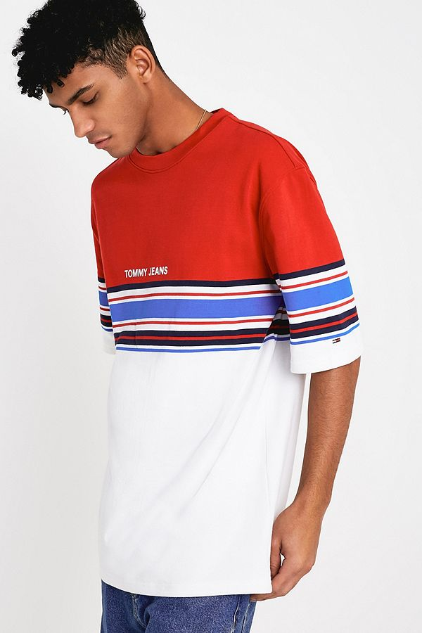f1a07c56 Tommy Jeans White + Red Placement Stripe T-Shirt | Urban Outfitters UK
