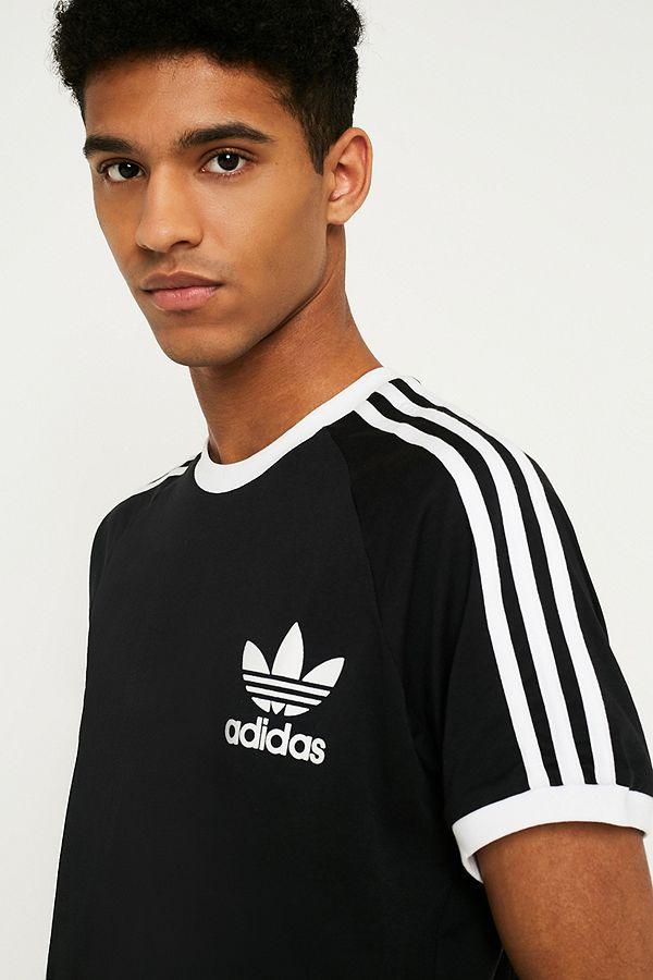 adidas – T Shirt in Schwarz mit 3 Streifen Styling