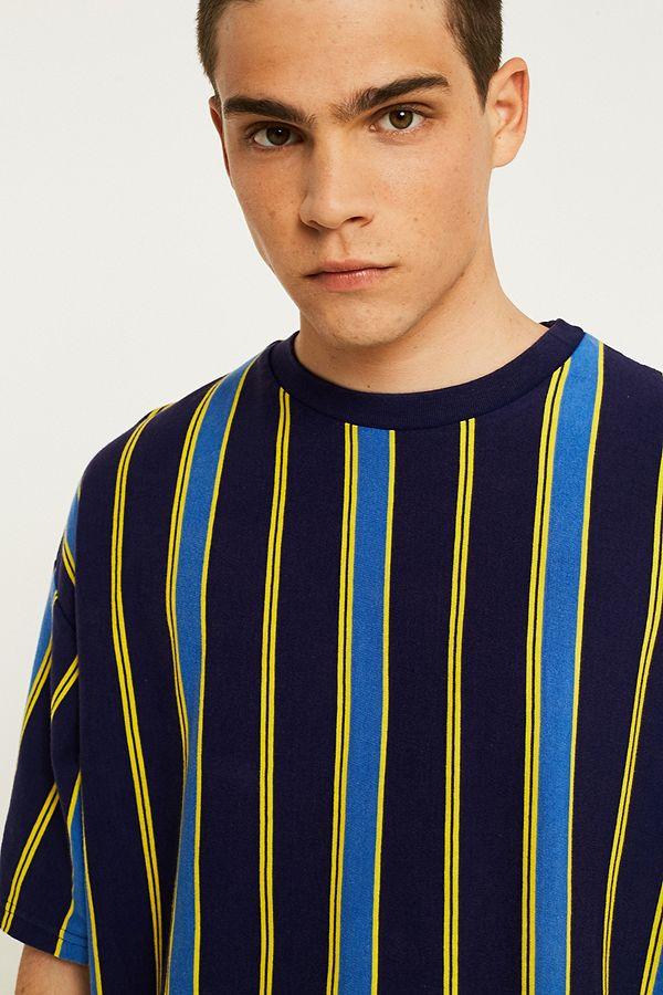 e4771efbf2 UO Blue Vertical Stripe T-Shirt | Urban Outfitters UK