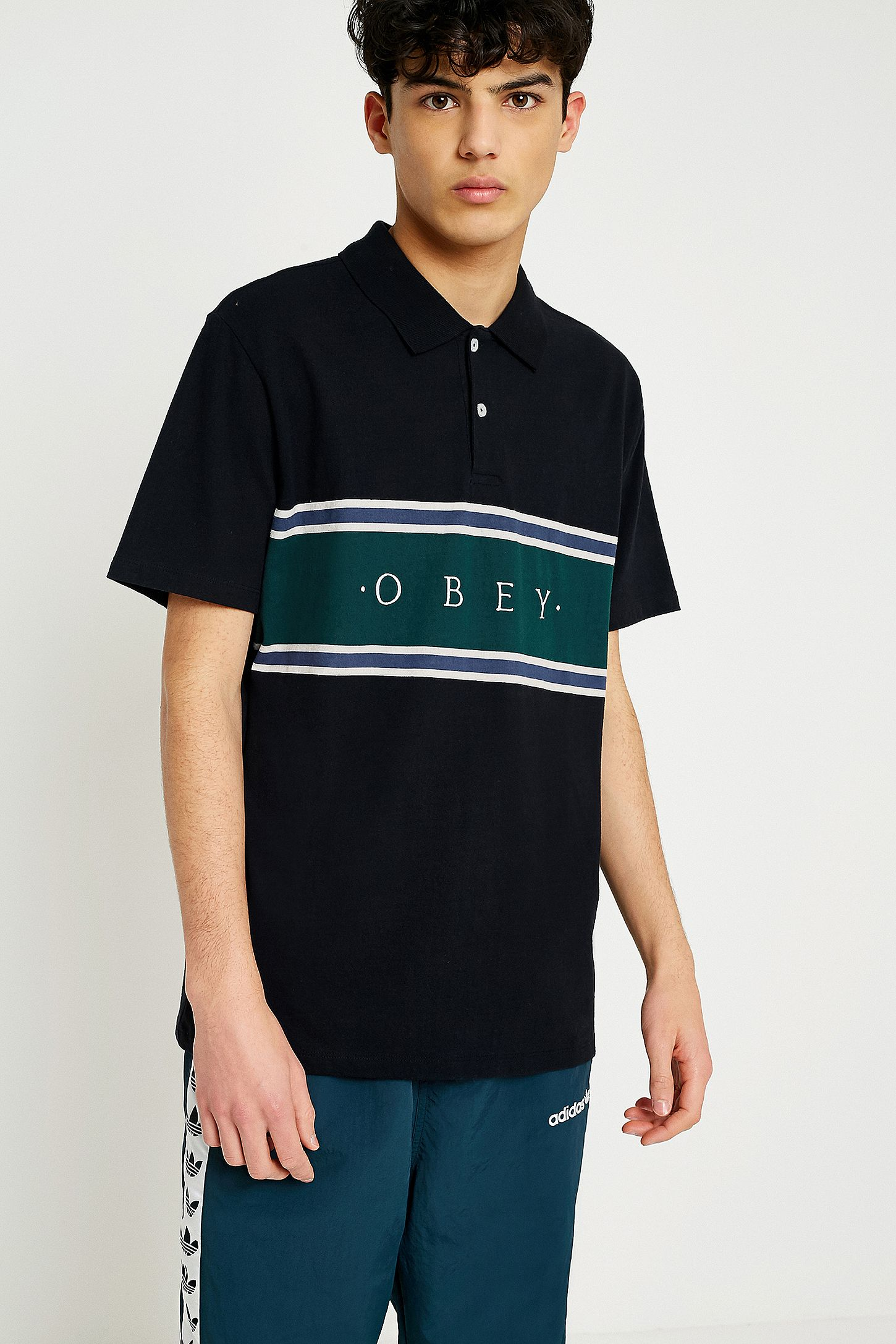 b91745e6 OBEY Palisade Black Polo Shirt | Urban Outfitters UK