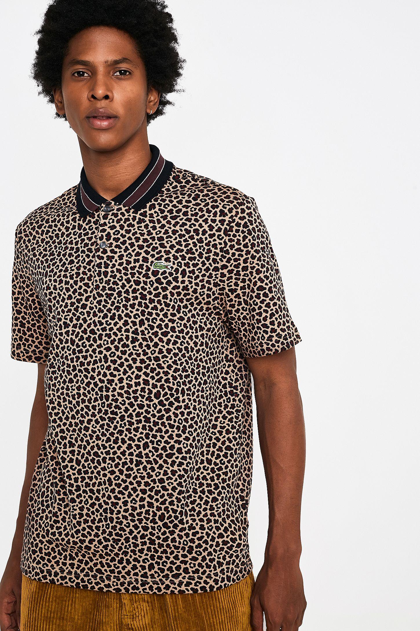 8b858bd4c6 Lacoste LIVE Sand Leopard Print Polo Shirt