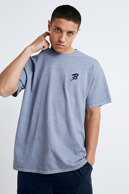 288e16cff UO Embroidered Dragon Blue T-Shirt