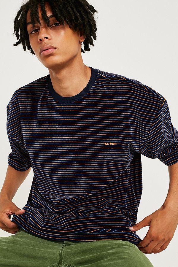 766555560d iets frans… Navy Stripe Velour T-Shirt | Urban Outfitters UK