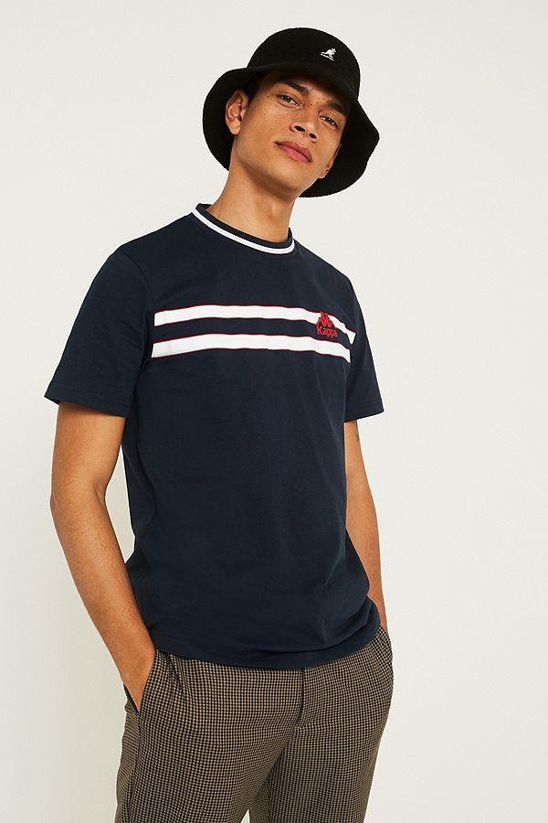 9439f68a16 Kappa Striped Logo Navy T-Shirt | Urban Outfitters UK