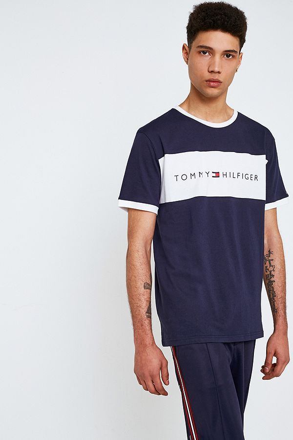 f555fa68 Tommy Hilfiger Navy Flag Logo T-Shirt | Urban Outfitters UK