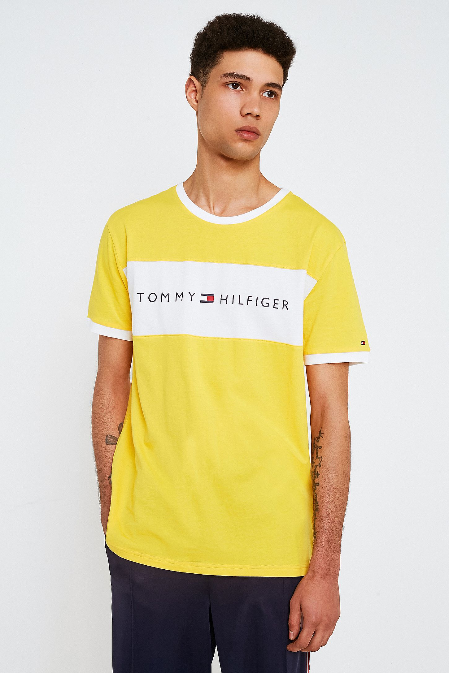 730529b61413 Tommy Hilfiger Yellow Flag Logo T-Shirt. Click on image to zoom. Hover to  zoom. Double Tap to Zoom