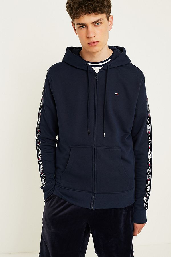 d9cc9880c Tommy Hilfiger Taped Sleeves Navy Hoodie | Urban Outfitters UK