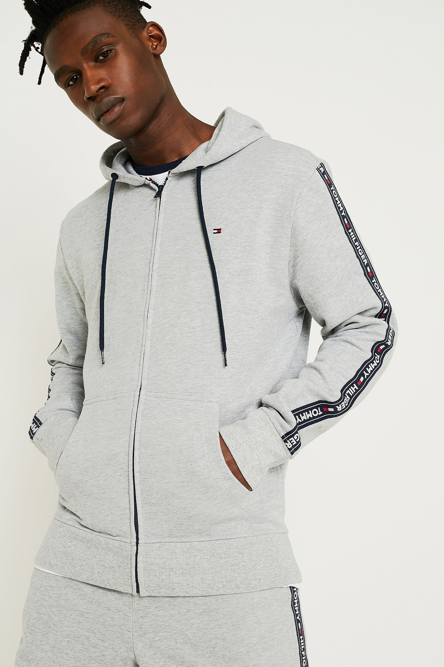 c9e9efed2 Tommy Hilfiger Taped Sleeve Grey Hoodie. Click on image to zoom. Hover to  zoom. Double Tap to Zoom