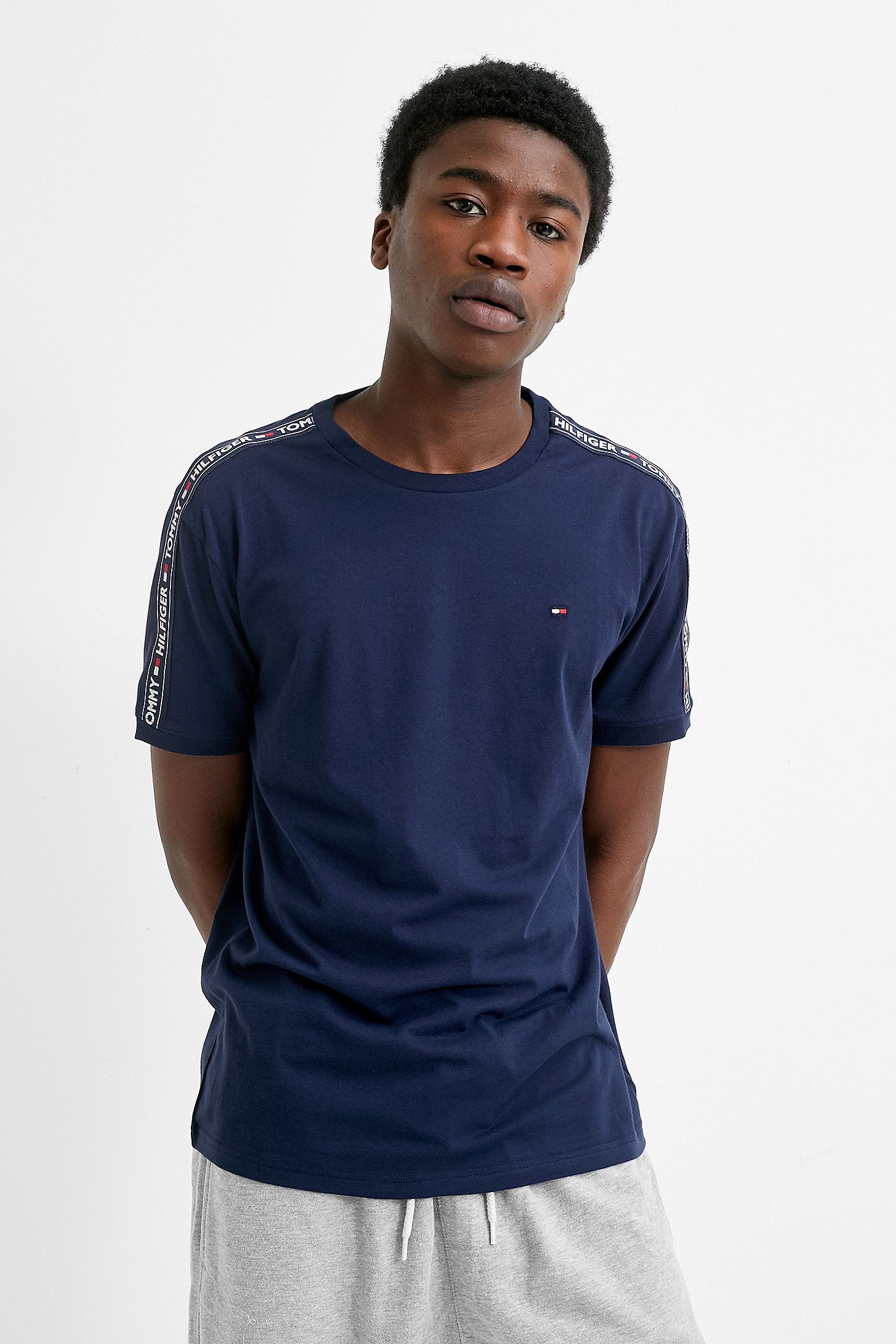 409a64da3 Tommy Hilfiger Taped Sleeve Navy T-Shirt | Urban Outfitters UK