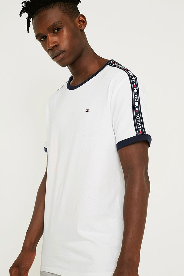 61f10d2d2 Tommy Hilfiger Taped Sleeve White T-Shirt | Urban Outfitters UK