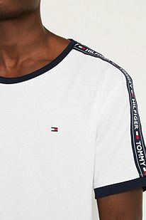 a8b8c8661 Slide View: 3: Tommy Hilfiger Taped Sleeve White T-Shirt