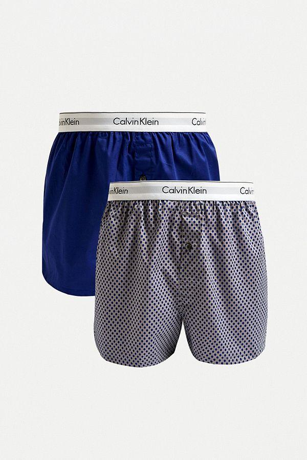 buy popular 44439 daf23 Calvin Klein Navy Slim Woven Boxer Shorts 2-Pack
